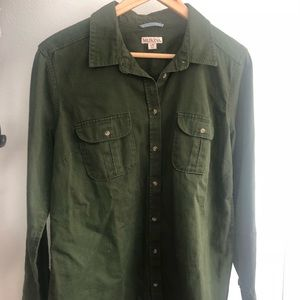 Merona Army Green Button Down
